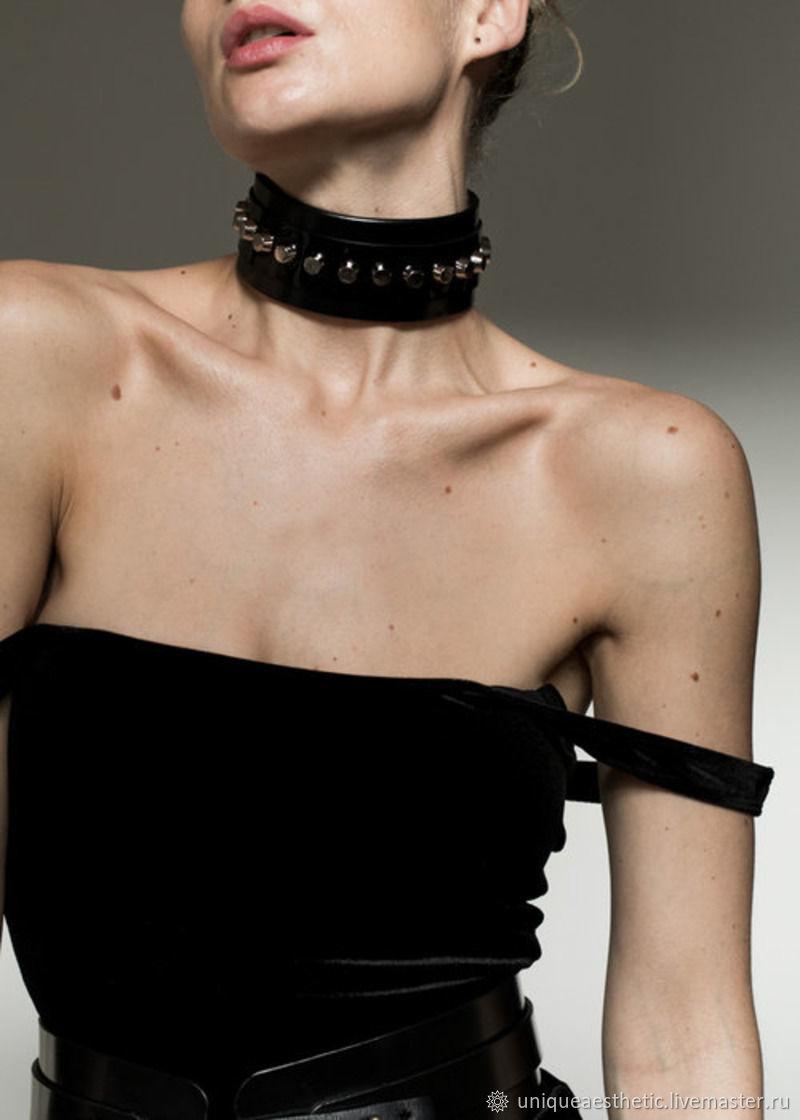 """Кожаный чокер """"NUSKU"""", чокер, ожерелье, браслет, аксессуары, Ошейник, Санкт-Петербург,  Фото №1"""