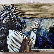 Картины и панно ручной работы. Ярмарка Мастеров - ручная работа Индеец Никто (керамическое панно со стеклом). Handmade.