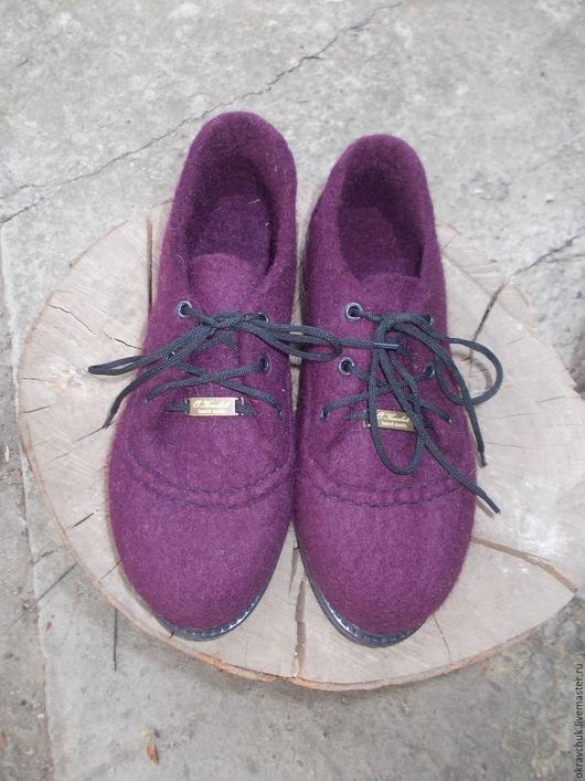 Обувь ручной работы. Ярмарка Мастеров - ручная работа. Купить Туфли валяные. Handmade. Бордовый, туфли ручной работы