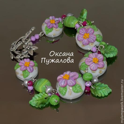 Браслет женский `Весенняя нежность` серый, розовый, с камнями  #браслет