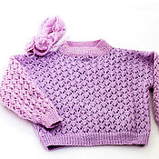Одежда handmade. Livemaster - original item Sweater children`s knitted openwork of purple wool mixture handmade. Handmade.