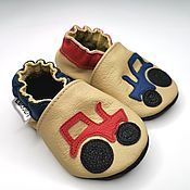 Одежда детская handmade. Livemaster - original item Blue Car Baby Shoes - Beige Baby Shoe - Red Car - Baby Moccasins. Handmade.