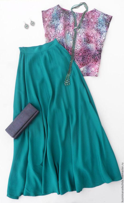 Комплект из длинной юбки и топа `Аметист и бирюза`