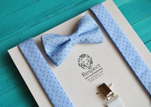 Комплекты аксессуаров ручной работы. Ярмарка Мастеров - ручная работа. Купить Голубая галстук бабочка + Подтяжки голубые / Комплект Дворянин. Handmade.