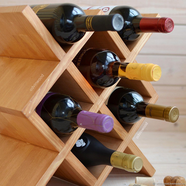 Винная полка стеллаж Марго на 6 винных бутылок бежевый коричневый, Полки, Псков,  Фото №1