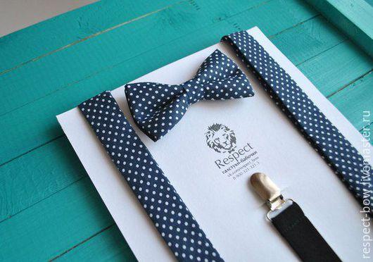 """Комплекты аксессуаров ручной работы. Ярмарка Мастеров - ручная работа. Купить Комплект галстук-бабочка и подтяжки """"В горошек"""" темно-синий. Handmade."""