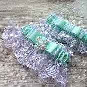 Свадебный салон ручной работы. Ярмарка Мастеров - ручная работа Комплект подвязок с кружевом мятного цвета. Handmade.