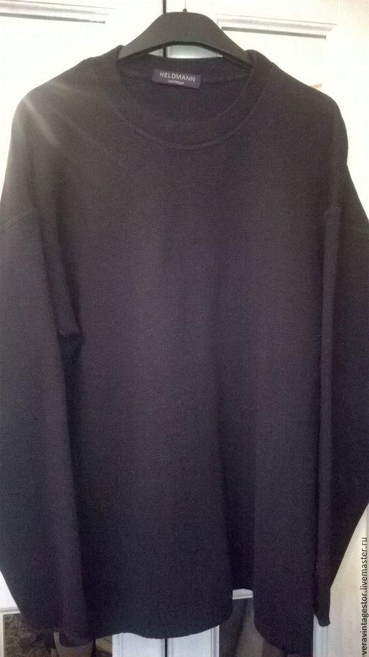 Одежда. Ярмарка Мастеров - ручная работа. Купить Германия Heldmann Меринос  черный мужской свитер. Handmade. Свитер, свитер спицами