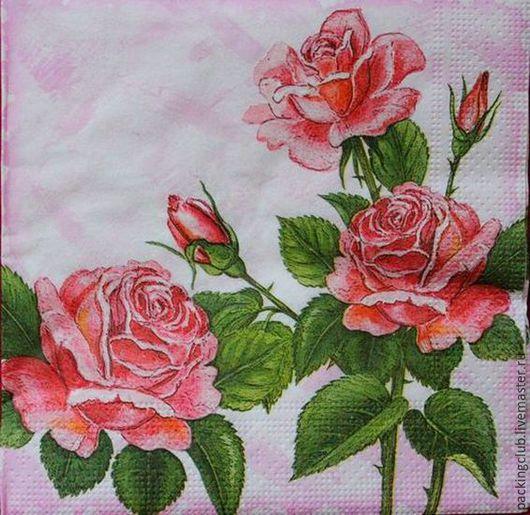 Декупаж и роспись ручной работы. Ярмарка Мастеров - ручная работа. Купить Салфетка Роза на розовом фоне. Handmade. Розовый