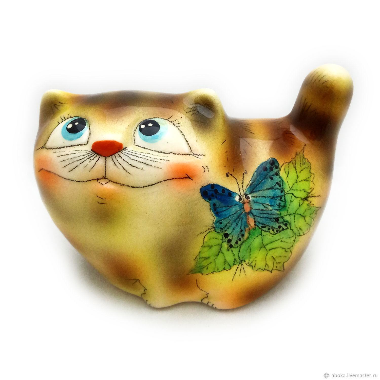 Ceramic figurine ' Smiling cat', Figurine, Balashikha,  Фото №1