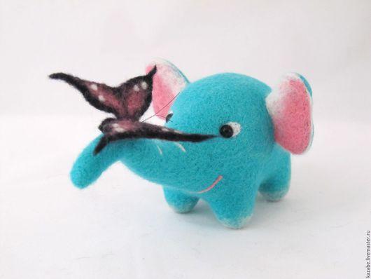 Игрушки животные, ручной работы. Ярмарка Мастеров - ручная работа. Купить Бирюзовый слон с бабочкой. Интерьерная игрушка из шерсти. Handmade.