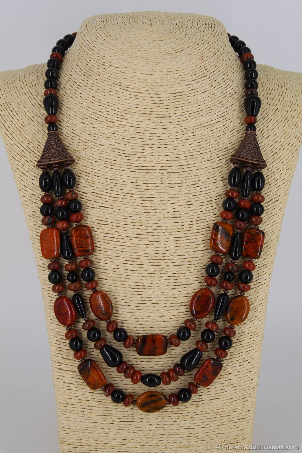 Necklace from natural stones - Jasper, obsidian 'Millenium', Necklace, Velikiy Novgorod,  Фото №1