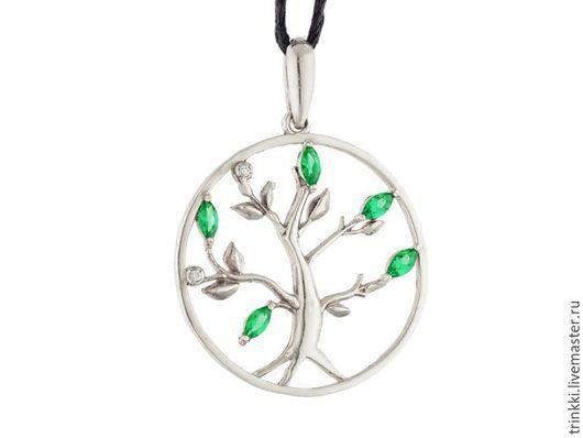 Кулон `Древо жизни` из серебра с фианитами. Украшения на тему йоги.