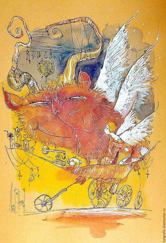 """Символизм ручной работы. Ярмарка Мастеров - ручная работа. Купить """"Прогулки по луне"""". Handmade. Акварель, графическая работа, открытка"""