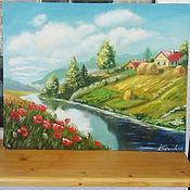 """Картины ручной работы. Ярмарка Мастеров - ручная работа Картина маслом пейзаж """"Родная деревенька"""" зеленый, природа. Handmade."""