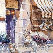 Картины и панно handmade. Livemaster - original item Watercolor Sunny Provence (cityscape purple brown). Handmade.