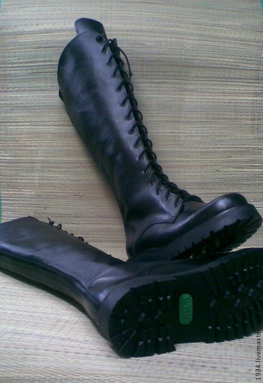 Обувь ручной работы. Ярмарка Мастеров - ручная работа. Купить женские сапоги C-MILITARY. Handmade. Черный, кожа натуральная