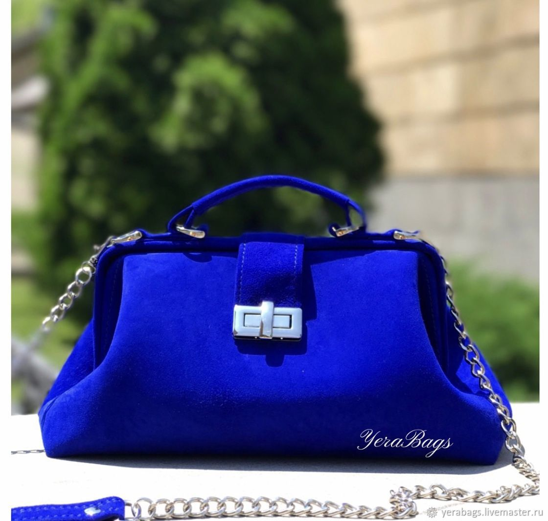 Men's shoulder bag with suede blue, Valise, Yerevan,  Фото №1