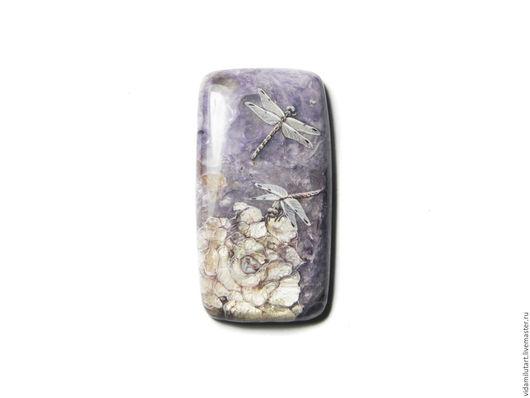 Роспись по камню ручной работы. Ярмарка Мастеров - ручная работа. Купить Стрекозы на чароите. Handmade. Сиреневый, цветок, живопись на камне