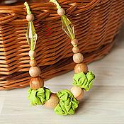 Одежда ручной работы. Ярмарка Мастеров - ручная работа Слингобусы салатовые текстильные с можжевеловыми бусинами. Handmade.