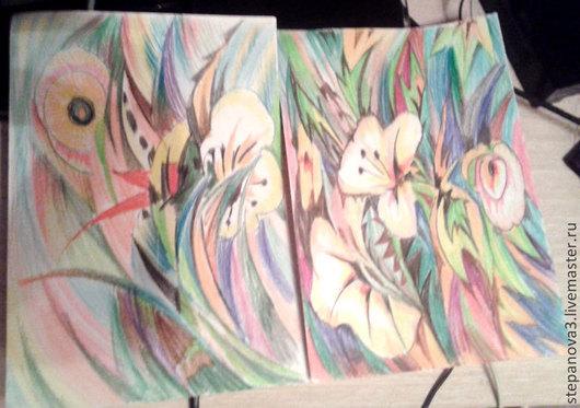 Фантазийные сюжеты ручной работы. Ярмарка Мастеров - ручная работа. Купить Цветочный мир. Handmade. Белый, графика, картины с выставки