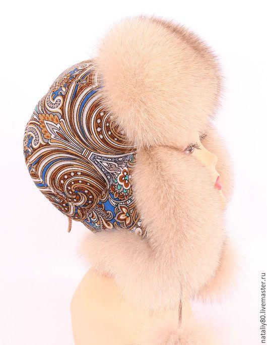 Шапки ручной работы. Ярмарка Мастеров - ручная работа. Купить Женская шапка ушанка с П-Посадским платком. Handmade.