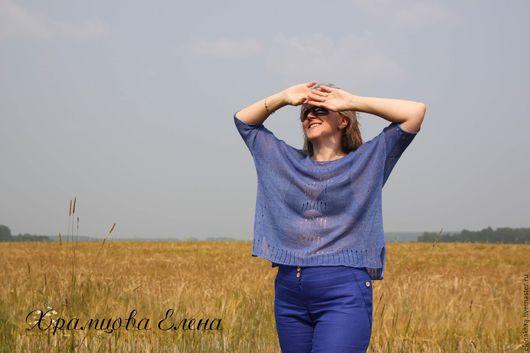 """Кофты и свитера ручной работы. Ярмарка Мастеров - ручная работа. Купить Летний пуловер """"Синие дали"""". Handmade. Синий"""