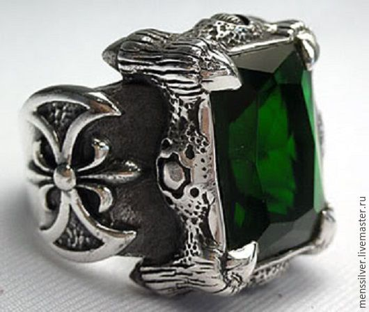 Серебряный мужской перстень `Когти Дракона` с изумрудом 35 карат