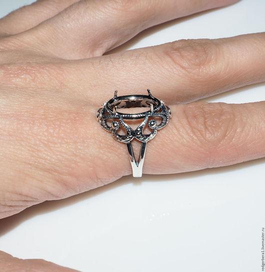 """Для украшений ручной работы. Ярмарка Мастеров - ручная работа. Купить Основа для кольца """"Любовь""""(14Х10) - серебрение 925 пробы. Handmade."""