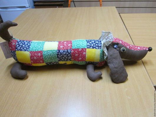 """Игрушки животные, ручной работы. Ярмарка Мастеров - ручная работа. Купить Мягкая игрушка """"Такса"""". Handmade. Коралловый, серый"""