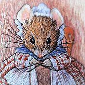 """Картины и панно handmade. Livemaster - original item Вышивка гладью, картина """"Мышка вяжет носок.."""",. Handmade."""