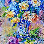 """Картины и панно ручной работы. Ярмарка Мастеров - ручная работа """"Прохладное Утро"""" - картина маслом розы. Handmade."""