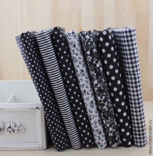 Шитье ручной работы. Ярмарка Мастеров - ручная работа. Купить Набор тканей черная серия 7 отрезов. Handmade. Ткань