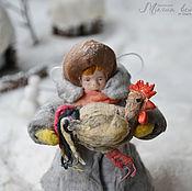 Подарки к праздникам ручной работы. Ярмарка Мастеров - ручная работа Ватная елочная игрушка СТЕПКА С ПЕТУШКОМ. Handmade.