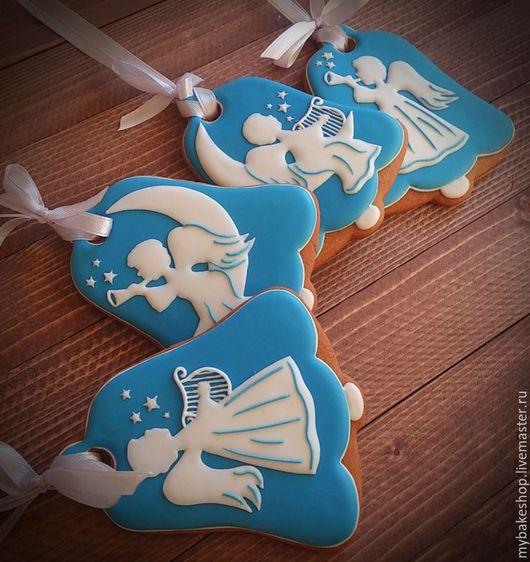 """Кулинарные сувениры ручной работы. Ярмарка Мастеров - ручная работа. Купить """"Christmas angels"""" пряники - козули. Handmade. Тёмно-синий"""