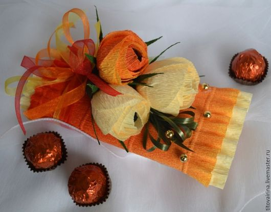 Букеты ручной работы. Ярмарка Мастеров - ручная работа. Купить Шоколадка- презент. Handmade. Оранжевый, презент на 8 марта, шоколад