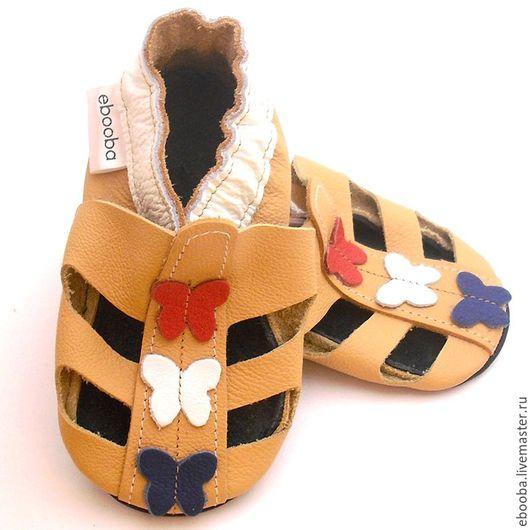 Кожаные чешки тапочки пинетки сандалики жёлтые бабочки белые красные синие ebooba