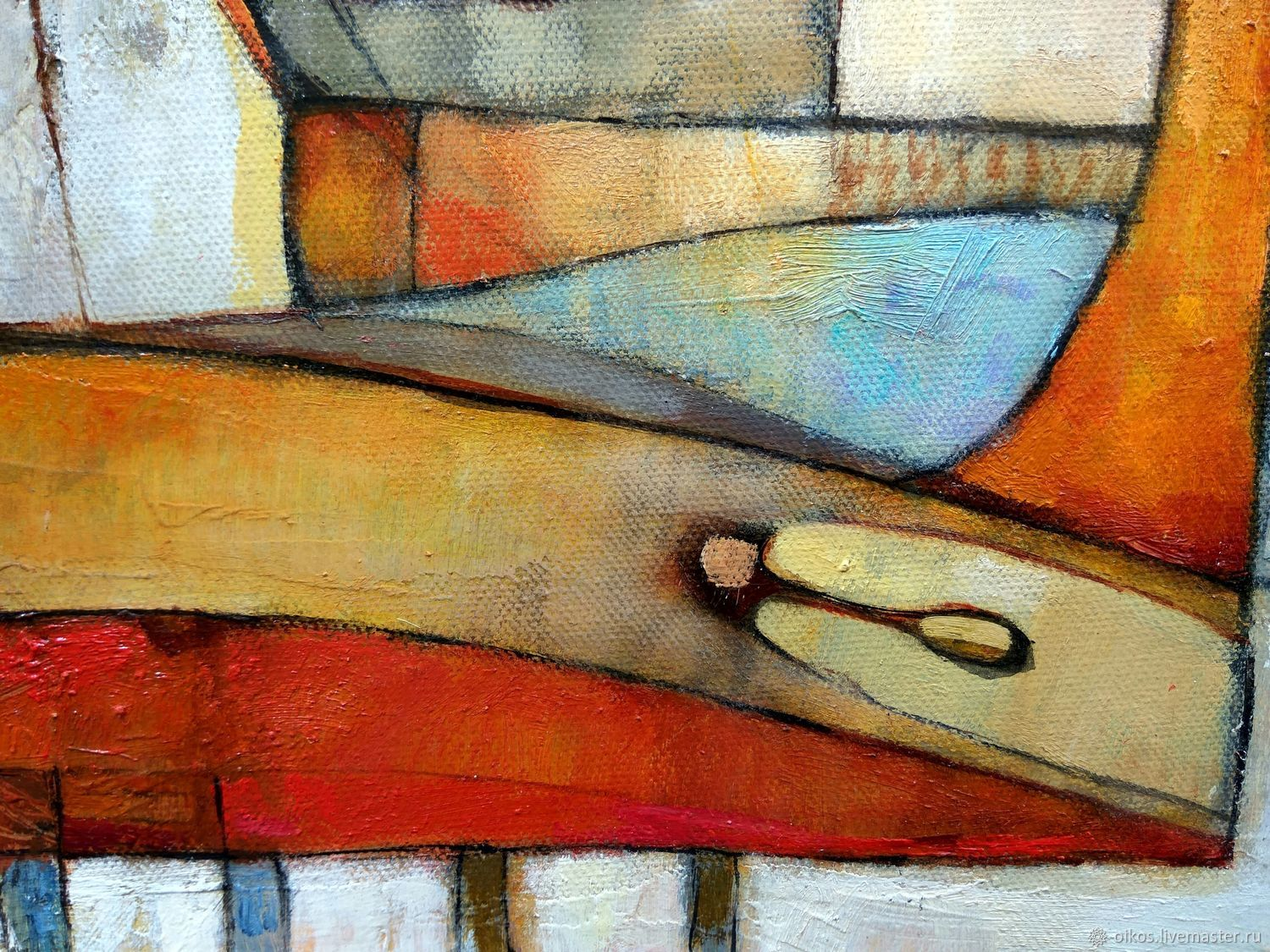 Order Abstract Oil Painting On Canvas 50h70 Cm And Warm Colours