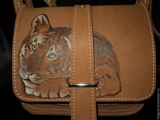 Женские сумки ручной работы. Ярмарка Мастеров - ручная работа. Купить сумка кожаная тигренок. Handmade. Бежевый, сумка кожаная
