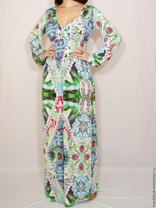 Платья ручной работы. Ярмарка Мастеров - ручная работа. Купить Зелено-голубое платье в пол,платье с длинным рукавом. Handmade.