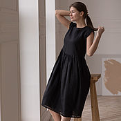 Одежда handmade. Livemaster - original item Black linen dress with black lace. Handmade.