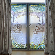 Для дома и интерьера handmade. Livemaster - original item Curtains hand painted Sleeping lions. Handmade.