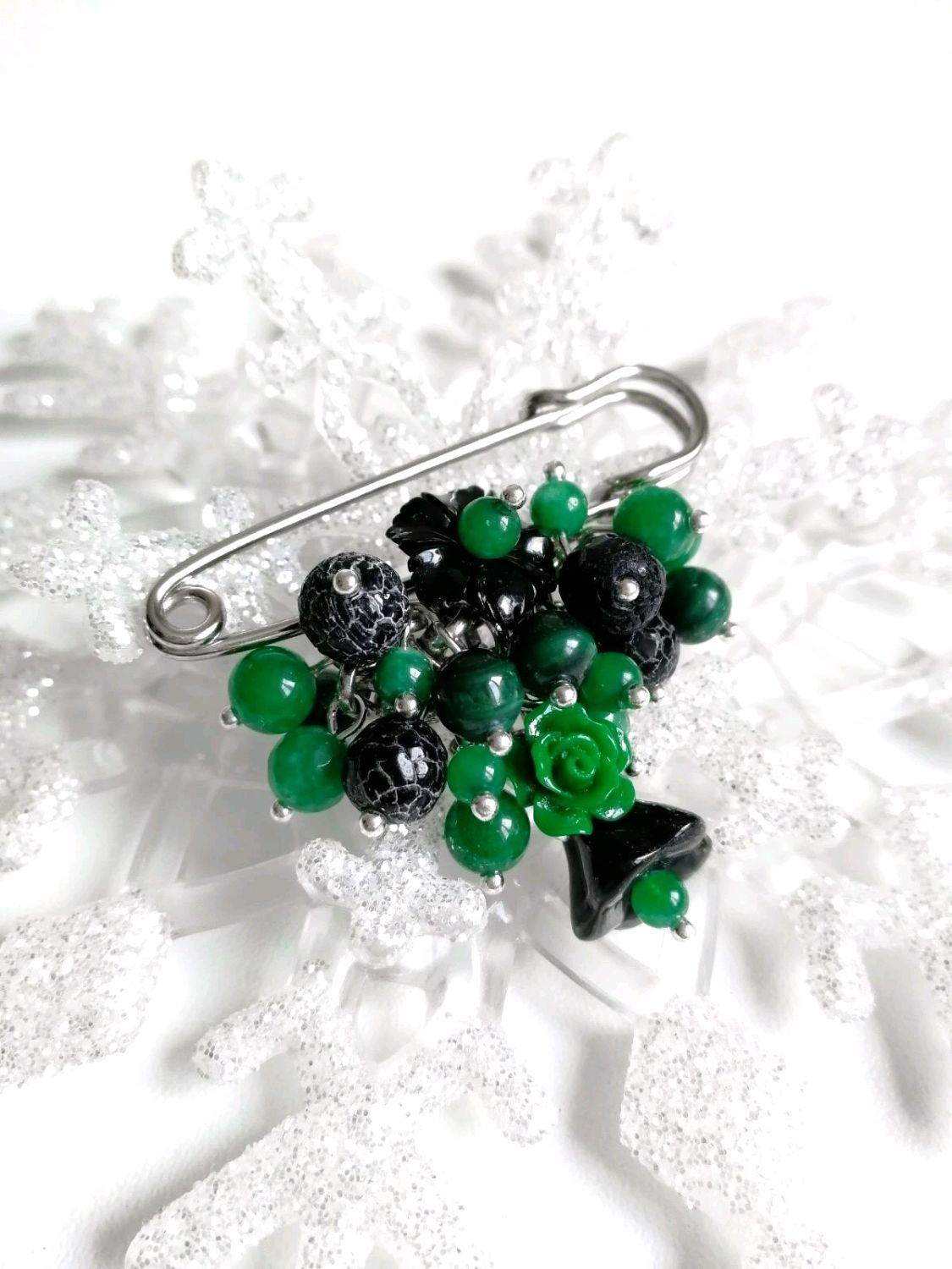 Brooch made of natural malachite and agate, Brooches, Tolyatti,  Фото №1