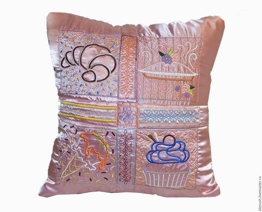 """Текстиль, ковры ручной работы. Ярмарка Мастеров - ручная работа. Купить Подушка с вышивкой """"Сладости"""". Handmade. Розовый, подушка декоративная"""