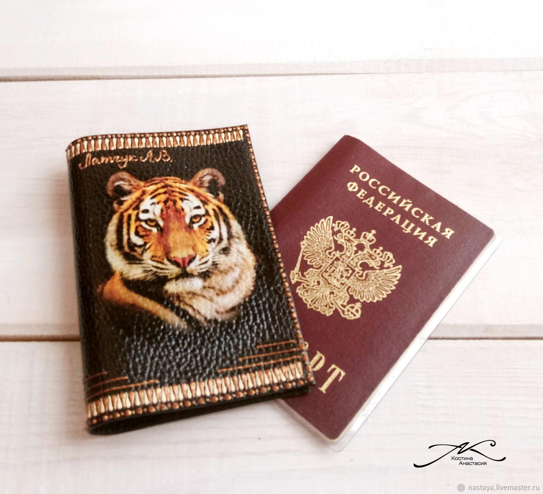 Passport cover men's genuine leather dark brown Tiger, Passport cover, Barnaul,  Фото №1