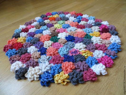 Текстиль, ковры ручной работы. Ярмарка Мастеров - ручная работа. Купить Цветочный коврик. Handmade. Разноцветный