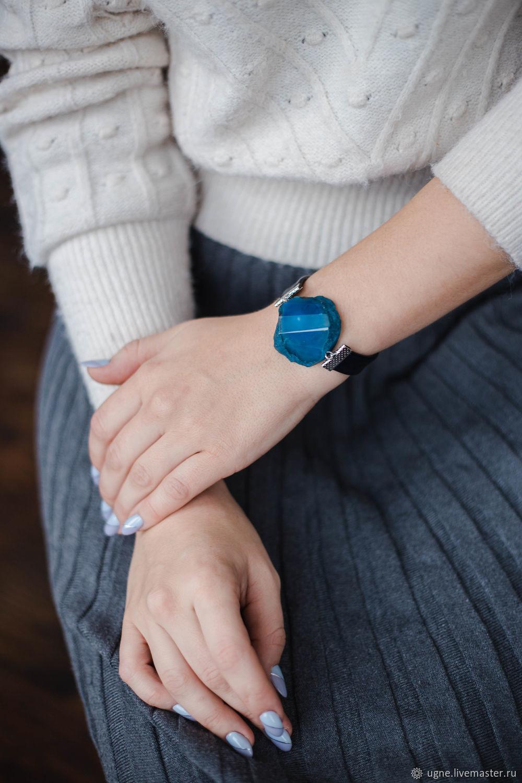 Magnetic clasp bracelet with large blue agate, Regaliz bracelet, Cheremshanka,  Фото №1