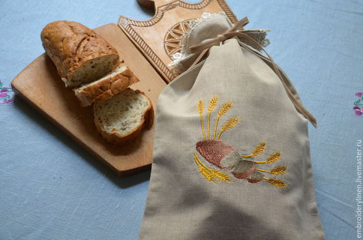 """Кухня ручной работы. Ярмарка Мастеров - ручная работа. Купить Льняной мешочек для хлеба """" Bread"""". Handmade. Серый, хлеб"""