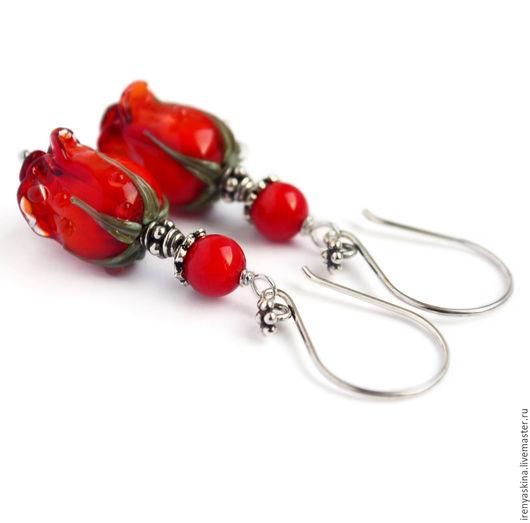 """Серьги ручной работы. Ярмарка Мастеров - ручная работа. Купить Серебряные серьги лэмпворк с цветами """"Cherry love"""" серебро 925 роза. Handmade."""