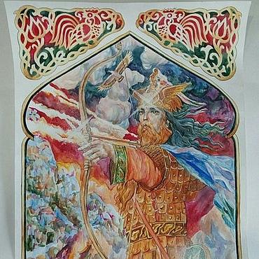 Картины и панно ручной работы. Ярмарка Мастеров - ручная работа Перун. Бог воинов удалой. Картина. Handmade.